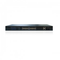 16 Channel PoE + Network Switch with 18 RJ45 Ports