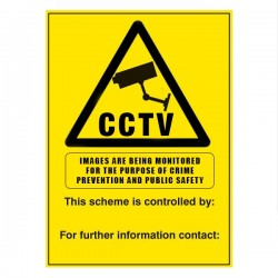 CCTV Cameras In Operation Warning Sign - 250mm (W) x 400mm (H)