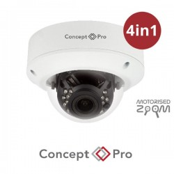 Concept Pro 2MP 4-in-1 Analogue Motorised External IR Dome White Camera